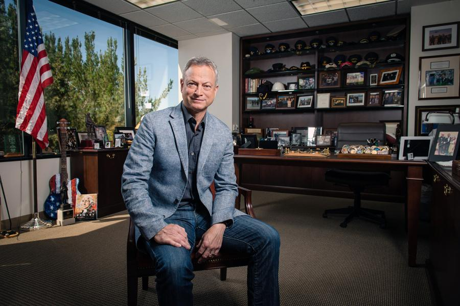 Gary Sinise in the Office of the Gary Sinise Foundation