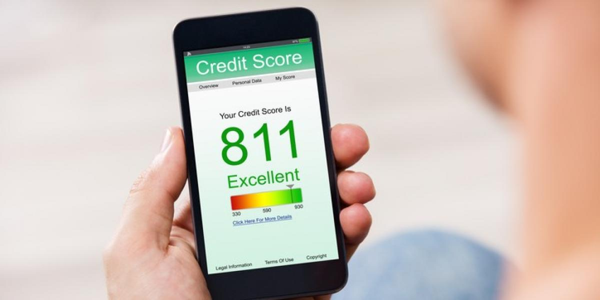 credit-score displayed on cellphone