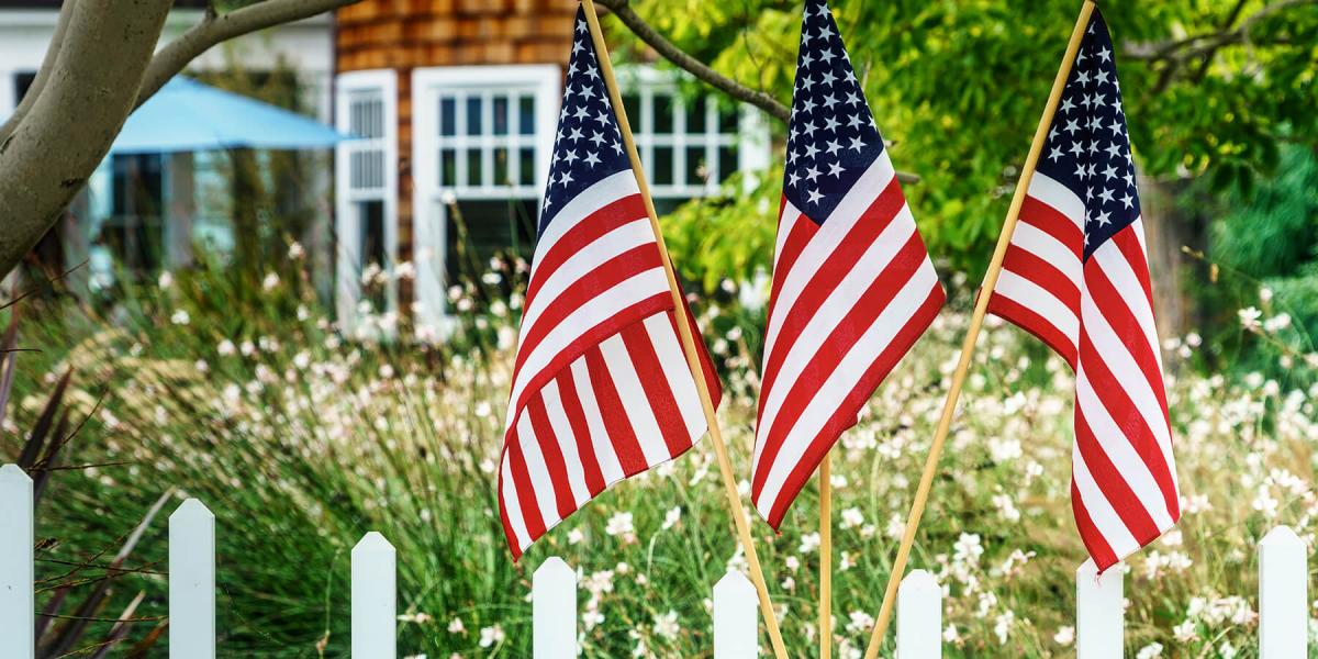 american flags outside of home