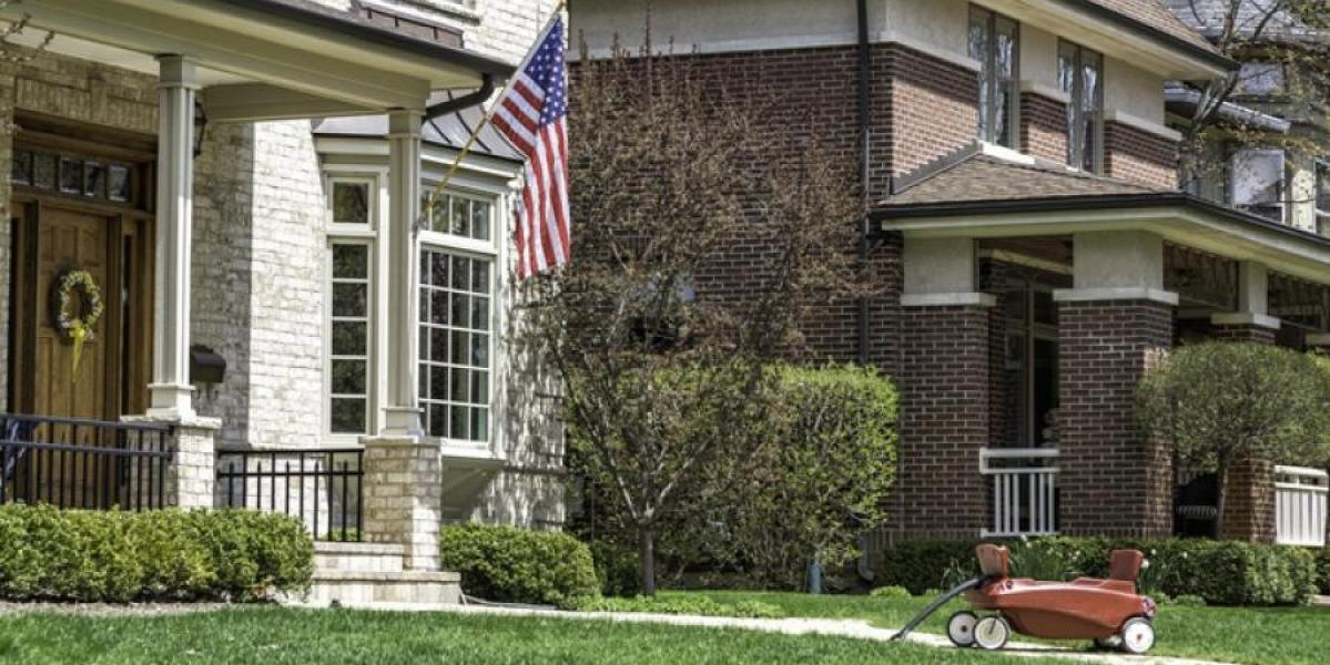 military family home with american flag