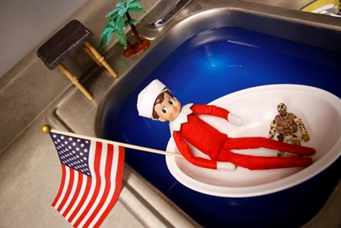 Elf on a Shelf as a Navy Sailor