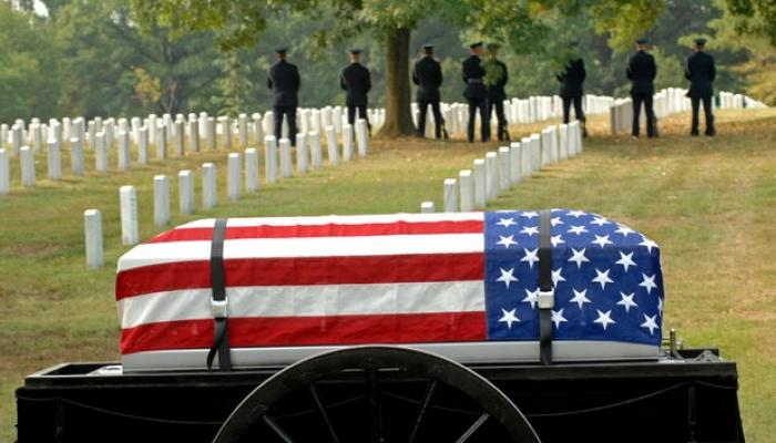 military funeral with american flag