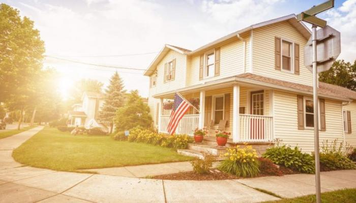 american house with flag eligible for va loan