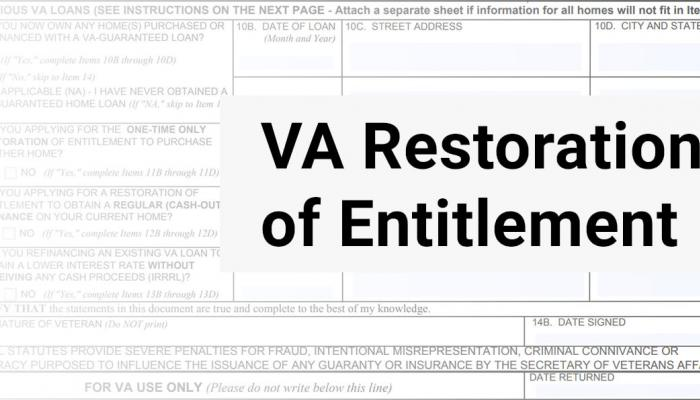 VA Loan Restoration of Entitlement Form