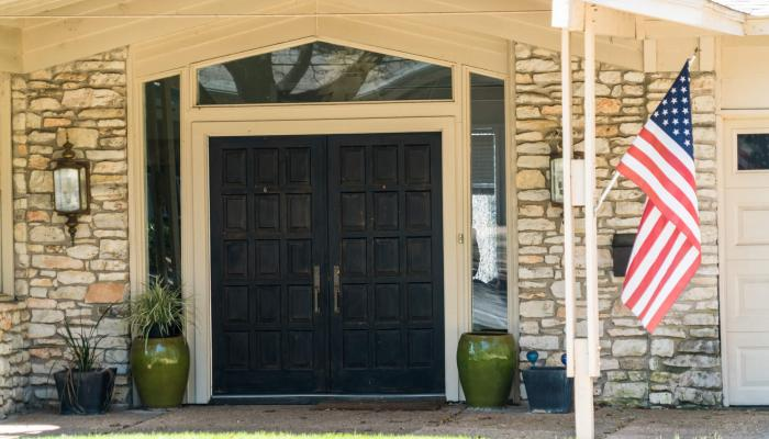 front door of military family house with american flag
